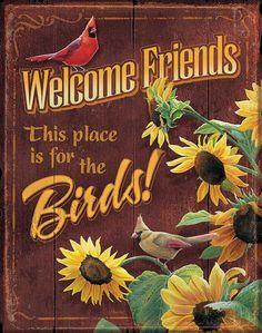 Susan+Bourdet+Calendars | Metal Tin Sign Welcome Friends Susan Bourdet Cardinal and Sunflower ...