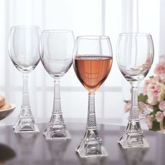 I NEED these   Set of Four Eiffel Tower Wineglasses - Furniture, Home Decor & Home Furnishings, Home Accessories & Gifts | Expressions