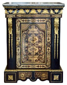 19th Century French Napoleon III style Boulle Marquetry Cabinet - $14500.
