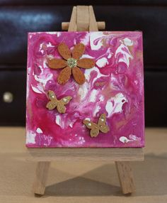 Abstract Strawberry Cream Flower Tiny Original by JewellsArtUK