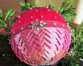 Handcrafted Satin Ribbon Christmas Ball, Christmas Tree Decorations, Handmade Decorations, Beautiful Christmas Ornament, Pink Ball