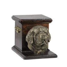 Urn for dog's ashes with a standing statue -St. Cremation Boxes, Dog Cremation, Dog Urns, Brass Handles, Your Pet, Decorative Boxes, Shapes, Statue, Make It Yourself
