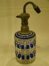 Baccarat Antique cobalt cut to clear perfume bottle atomizer
