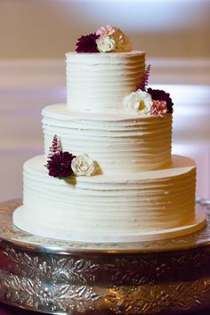 Beautiful Fall Wedding Cake| {Aubergine & Marsala} Classic NC Fall Wedding|Photographer:  Erin Costa Photography