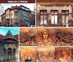În spatele blocurilor de pe Calea Moșilor, pe strada Făinari, foarte aproape de Obor, e una dintre puținele clădiri civile din București cu pictură exterioară: un imobil în stil neoromânesc din perioada interbelică. | Bucurestii Vechi si Noi