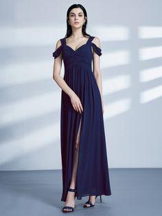 337516adc96 Off Shoulder Long Evening Dress with Slit