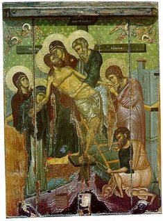 The Descent from the Cross. 14th c. Agia Marina church, Kalopanagiotis, Cyprus.