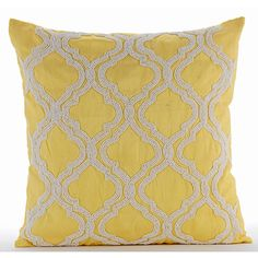 Handmade Yellow Pillow Covers 16x16 Silk Pillows by TheHomeCentric