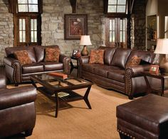 Classic Couch - Three-Cushion Seat Brown Sofa Set for the Living Room - living room furniture, living room sets, sofas, couches, sofa Living Room Paint, New Living Room, Living Room Sets, Sofa Furniture, Living Room Furniture, Farmhouse Furniture, Distressed Leather Sofa, Brown Leather, Brown Sofa Set