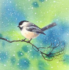 EARLY SNOW CHICKADEE watercolor bird painting, painting by artist Barbara Fox