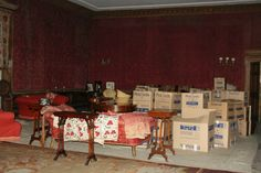 Boxes of books at West Horsley Place, December 2015 Trinity Library, Ghosts, December, Boxes, Tv, Places, Home Decor, Crates, Decoration Home