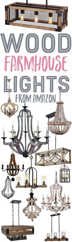 Wood Farmhouse Chandeliers and Lights from Amazon-www.themountainviewcottage.net.jpg