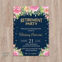 Floral Retirement Party Invitations Retirement Party Invitation