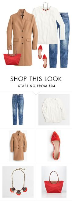 """""""Untitled #4022"""" by shopwithm ❤ liked on Polyvore featuring J.Crew, Longchamp, women's clothing, women, female, woman, misses and juniors"""