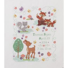 Forest Friends Birth Record Counted Cross Stitch Kit