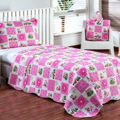 Cobre Leito Infantil Estampa de Retalhos Sweet Rosa + Porta Travesseiro