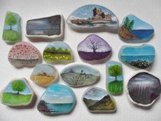 Little landscapes - miniature art on sea glass & sea pottery