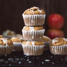 Healthy Apple Oatmeal Muffins made with whole wheat flour, fresh SweeTango®apples and chai spices. Finished with a light vanilla bean glaze for a special treat! #muffins #muffinrecipe #chai #healthybreakfast #healthysnack Healthy Carrot Cakes, Healthy Muffin Recipes, Healthy Muffins, Healthy Snacks, Healthy Breakfasts, Healthy Sweets, Healthy Baking, Apple Recipes, Baking Recipes