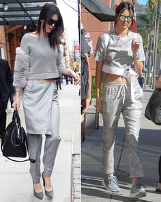 Jenner showed off how to wear head-to-toe gray in two completely opposite ways. She looked every bit the high-end model in New York City sporting a fur-trimmed sweater, trousers with a skirt detail and black leather carrier. She adopted an athleisure look for L.A., wearing a matching crop top and sweatpants with gym sneakers.