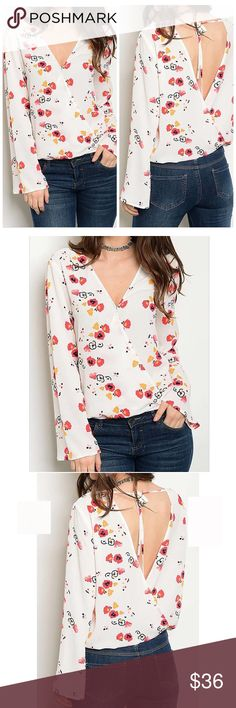 Long Sleeve V-Neck Floral Print Blouse Long Sleeve V-neck Floral Print Blouse.  Fabric Content: 100% POLYESTER NWOT Tops Blouses
