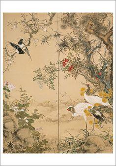 Yamamoto Baiitsu, Flowers and Birds, 1843 Japanese Painting, Chinese Painting, Chinese Art, Traditional Paintings, Traditional Art, Japanese Flowers, Japanese Embroidery, Watercolor Bird, Japanese Prints