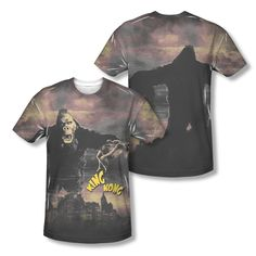 King Kong In The City Vintage Poster Picture Sublimation All-Over T-shirt Top Mens Sizes: S, M, L, XL, 2XL