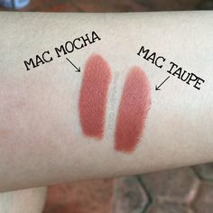 MAC Mocha (satin) vs MAC Taupe (matte) lipstick. Mocha is more peachy when applied to the lips, and Taupe is more browny. My personal favorite is Taupe, becoz it gives more 90s vibe than Mocha ;P