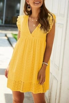 Yellow Summer Mini Dresses for Women. Cute Short Yellow Dresses for Summer Women's -     #summerfashion  #summerstyle #summervibes  #fashionstyle Yellow Dress Summer, Mini Dresses For Women, Casual Dresses, Short Sleeve Dresses, Vestido Casual, Women's One Piece Swimsuits, Wrap Dress Floral, The Dress, Pretty Dresses