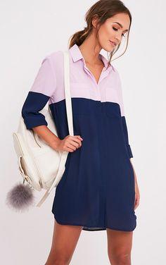 Rachia Navy Colour Block Shirt Dress Image 1