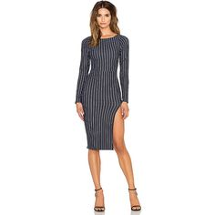 """Boat Neck Midi Dress 90% nylon 10% spandex.  Dry clean only.  Unlined.  Side slit.  Shoulder seam to hem measures approx 42"""" in length."""