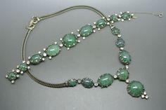 Vintage Christian Dior by Mitchel Maer 50s Green Necklace Bracelet Set | eBay