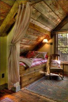 Cabin bedroom for our AFrame cottage....