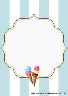 Ice Cream Template, Cone Template, Christmas Party Invitation Wording, Free Printable Birthday Invitations, Free Invitation Templates, Templates Free, Ice Cream Invitation, Ice Cream Parlor, Music Flashcards