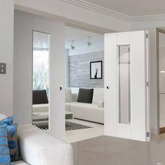 Thrufold Axis White 2+1 Folding Door - Clear Glass.    #bifolddoors #foldingdoors #interiordoors #thrufold #roomfold #doors