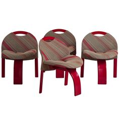 An Interesting Set of Four Red Lacquer Chairs by Saporiti 1980s