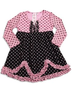 Me Me Me by Lipstik - Newborn Girls Long Sleeve Polka Dot Dress, Pink, Black - Newborn Baby Girl Dresses - Cotton Dresses