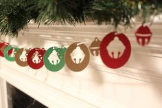 Jingle Bells Shimmery Gold, Green and Claret Red Holiday Garland