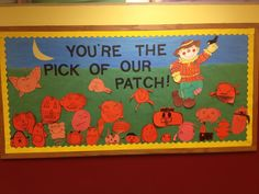 Fall pumpkin bulletin board...love the one with wings