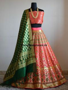 Banarasee/Banarasi Handwoven Art Silk Unstitched Lehenga & Blouse Fabric With Meena Work & Deep Green Dupatta-Bright Peach
