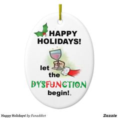 Happy Holidays! Double-Sided Oval Ceramic Christmas Ornament