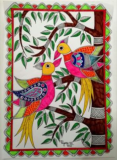 Madhubani Paintings Peacock, Kalamkari Painting, Madhubani Art, Cool Art Drawings, Colorful Drawings, Worli Painting, African Art Paintings, Pottery Painting Designs, Doodle Art Designs
