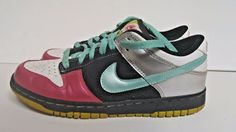 Nike 6.0 womens Dunk Low 7.5 314141-031 Shoes 2008 Mint Fushia Pink Black #Nike #BasketballShoes