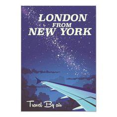 London From New York Vintage flight poster Photo Print