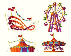 Set of vector cartoon illustrations for an amusement park Free Vector Fall Carnival, Carnival Themes, Creative Flyer Design, Creative Flyers, Roller Coaster Party, Fun Fair, Kid Poses, Kid Character, Attraction