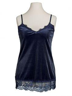 Damen Samttop Spitze, blau von fashion made in italy bei www.meinkleidchen.de