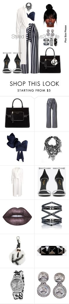 """Plus Size Please"" by keys2luxlife on Polyvore featuring Marc Jacobs, Johanna Ortiz, H&M, Yves Saint Laurent, Lime Crime, Eva Fehren, Fendi, Valentino, Akribos XXIV and Versace"