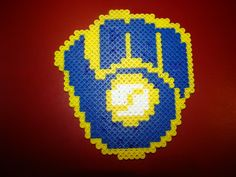 Perler Beads Magnet Milwaukee Brewers Retro Glove by Spiveyam on Etsy Melty Bead Patterns, Pearler Bead Patterns, Perler Patterns, Pearler Beads, Beading Patterns, Bead Crafts, Arts And Crafts, Diy Crafts, Bottle Cap Art