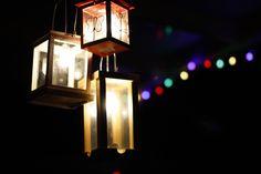 Veranda lamp gemaakt van 3 oude lantaarns gekocht op vrijmarkt voor 3 euro