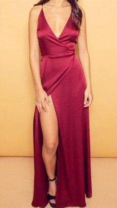 Burgundy V-Neck Cheap Evening Dresses Spaghetti Straps Popular Long Prom Dresses