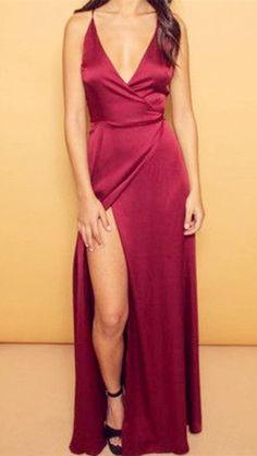 Burgundy V-Neck Cheap Evening Dresses Spaghetti Straps Popular Long Prom Dresses